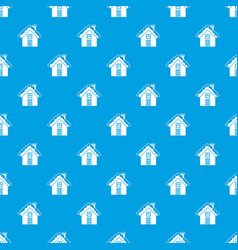 small snowy cottage pattern seamless blue vector image
