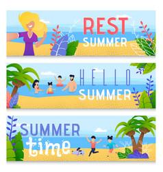 Summer family time rest flat banner set vector