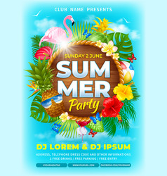 Summer party advertisement poster template vector