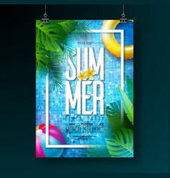 Summer pool party poster design template with vector