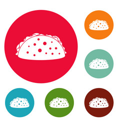 tacos icons circle set vector image