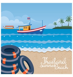 Thailand Summer Beach with Swim Ring Boat Island vector image