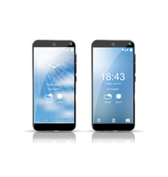 two smartphones showing weather screensaver on vector image