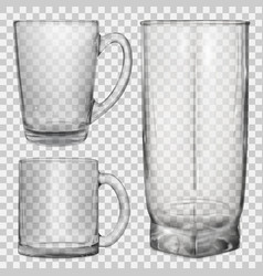 two transparent glass cups and one glass for juice vector image