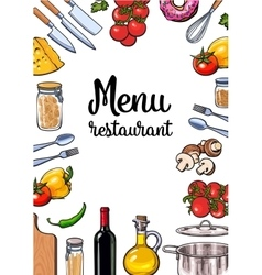 Vegetable kitchenware cheese and pasta Italian vector image