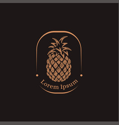Vintage label pineapple logo icon template vector
