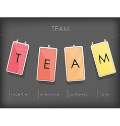 Word spell TEAM on hanging note paper with rope vector