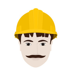 Working man in yellow hard hat vector