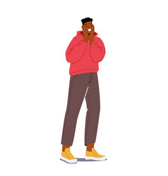 Young african man surprised emotion astonished vector