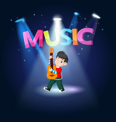 young man playing guitar at the stage vector image