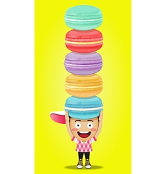 happy man carrying big macaroons or macarons vector image vector image