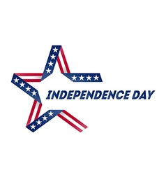 Independence Day star made of ribbon in national vector image vector image