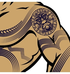 Muscled Man with Polynesian Tattoo vector image vector image