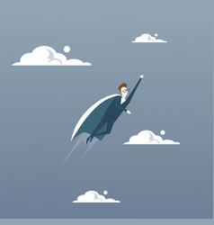 businessman fly wear hero cape success concept vector image