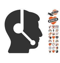 call center operator icon with love bonus vector image
