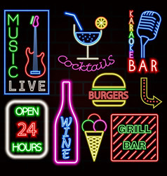colorful neon sign set eps10 vector image