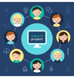 Computer and Children Faces Group Project vector image vector image