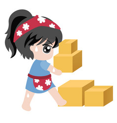 for businessmaid holding crate vector image
