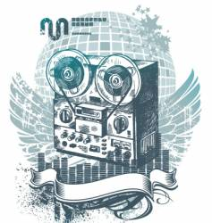 hand drawn tape recorder vector image