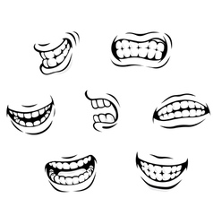 Smiling and angry cartoon teeth vector