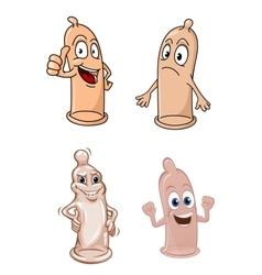 Cartoon funny latex condoms characters vector image