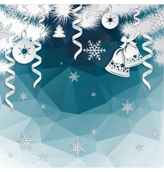 Christmas background with cut paper decorations vector image