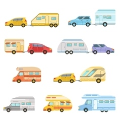 Colorful Rv Minivan With Trailer Set Of Icons vector image