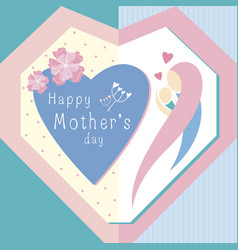 happy mothers day design in heart shape vector image vector image