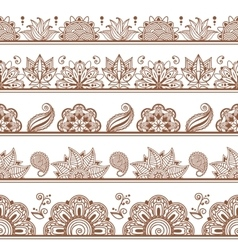 Seamless borders or patterns in indian style with vector image vector image