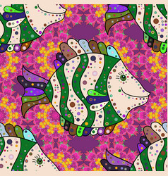 swimming fishes cute pattern on neutral green vector image
