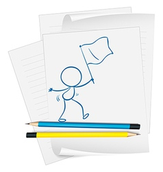 A paper with a sketch of a person holding a flag vector image vector image