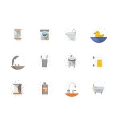 Bathroom flat color icons collection vector image vector image