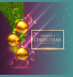beautiful shiny golden christmas balls with leafs vector image vector image