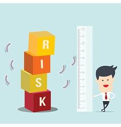 Business man use ruler measure risk block vector image