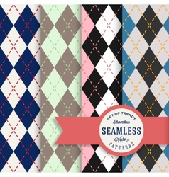 English Rhombus Seamless Pattern Set vector image