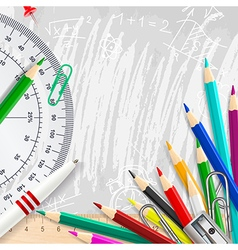 Grey chalk background with school supplies vector image