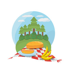 Picnic red and white tablecloth tree meadow vector
