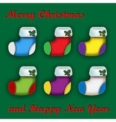 Set of colorful Christmas socks vector image