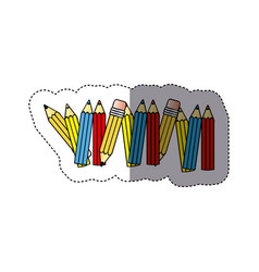 Sticker silhouette with colored pencils row with vector