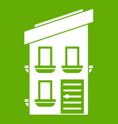two-storey house icon green vector image vector image