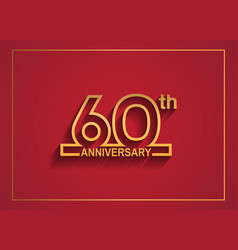 60 anniversary design with simple line style vector