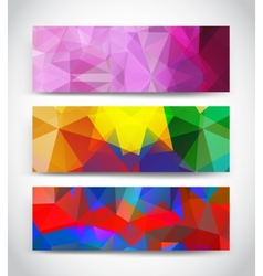 Abstract multicolor geometric triangles banners vector
