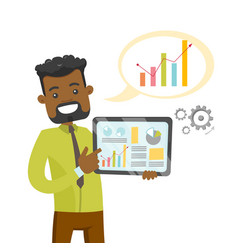 african executive using tablet for presentation vector image