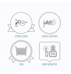 Baby monitor crib bed and songs for kids icons vector image
