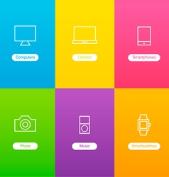 Banners with devices icons vector