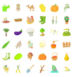 Big farm icons set cartoon style vector