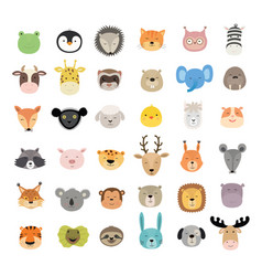Big set cute animal faces hand drawn vector
