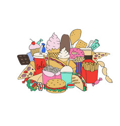 big set of hand drawn doodle fast food hand drawn vector image