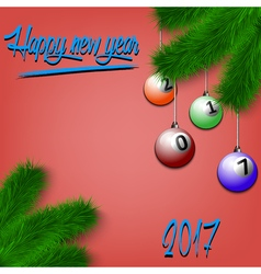 Billiard balls on christmas tree branch vector