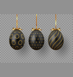 black easter eggs with geometric pattern vector image